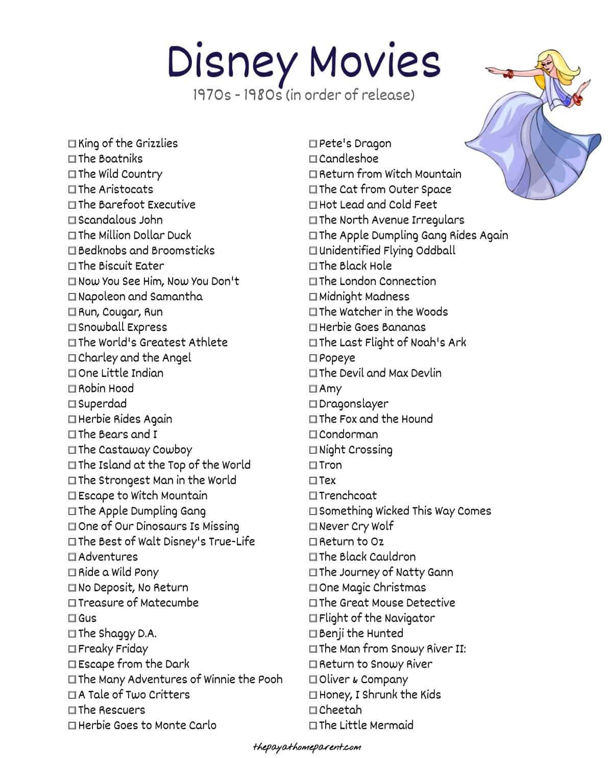 List of Disney Films - The Aristocats, Robin Hood, The Apple Dumpling Gang, The Rescuers, Return to Oz, Oliver & Company and The Little Mermaid are all part of this list of Disney films - along with many more!