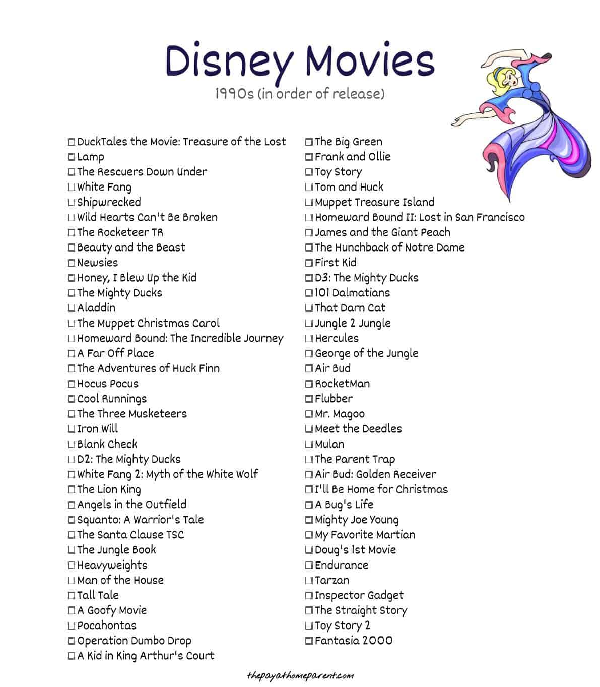 Walt Disney Movies - Beauty and the Beast, Aladdin, The Lion King, Pocahontas, Toy Story, 101 Dalmatians, Mulan, A Bug's Life, Tarzan, Toy Story 2 and so many more Walt Disney Movies are included on this extensive list of Disney movies from the 1990s