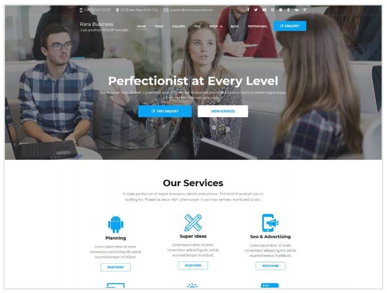 Small Business Website Example: Rara