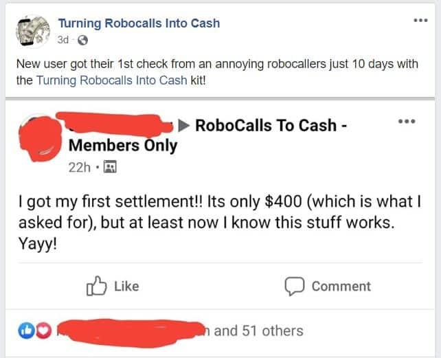 Calls into Cash Facebook screenshot