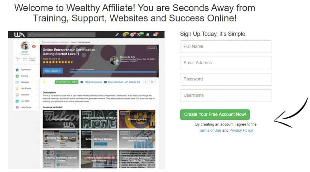 Wealthy Affiliates sign up