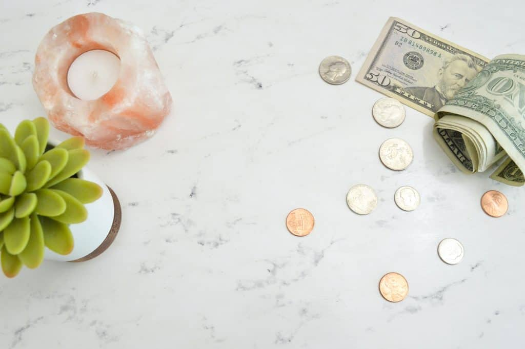 flat lay of cash on a table