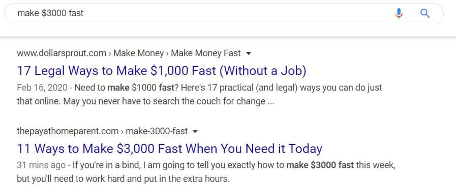 gagner 3000 $ rapidement