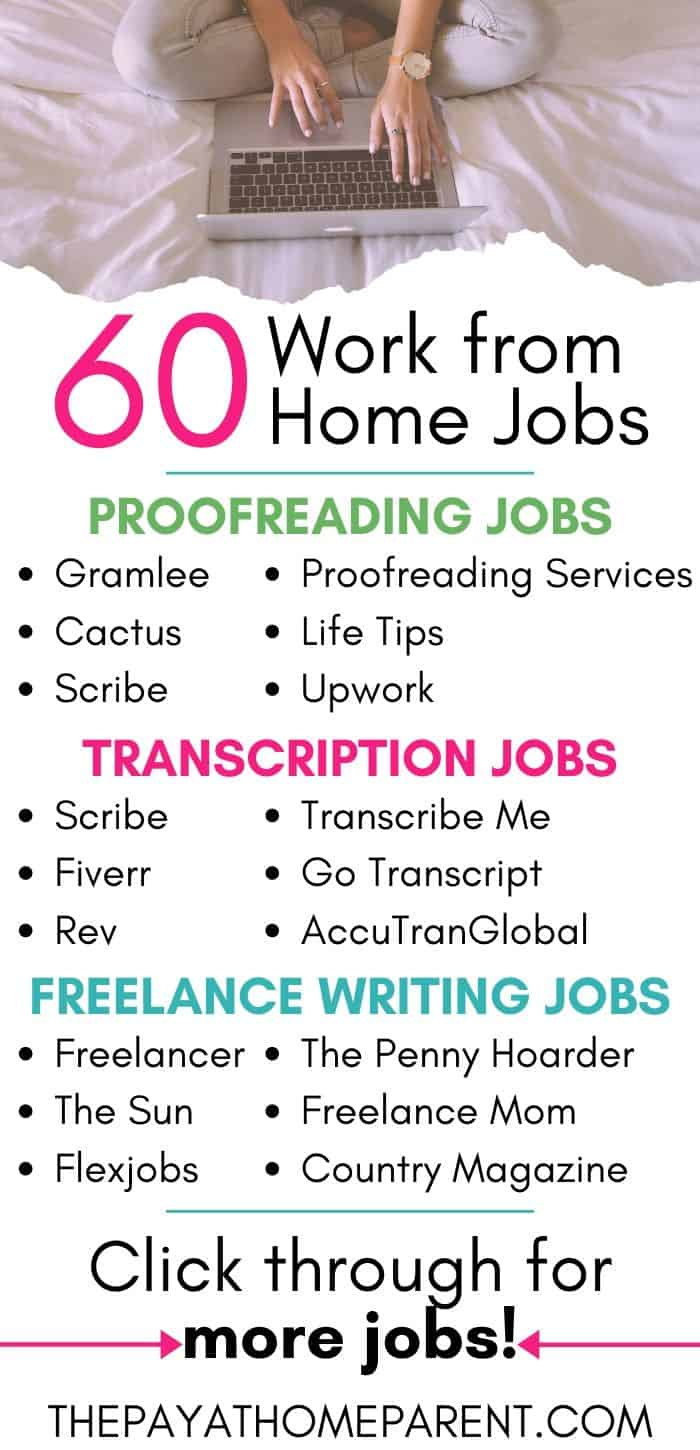 60 Work from Home Jobs Infographic