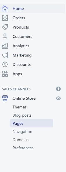Shopify navigation panel