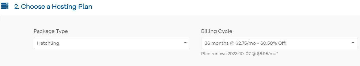 choose a hosting plan