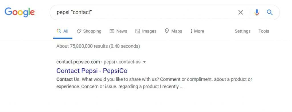 sample search for company contact info