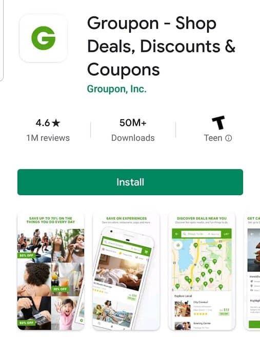 Groupon app screenshot