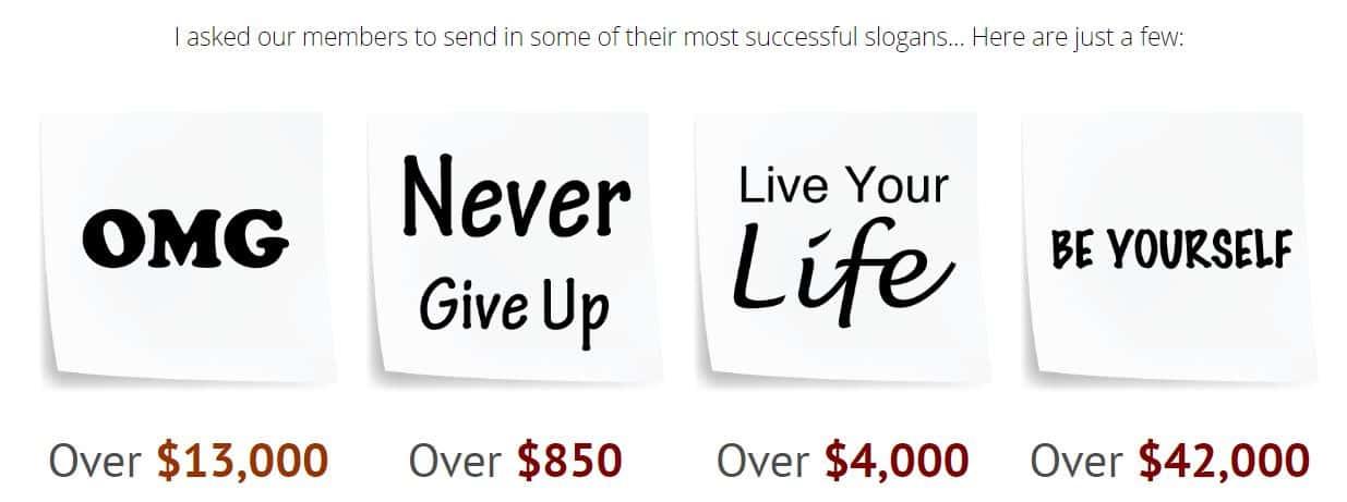 Slogan Seller member earnings
