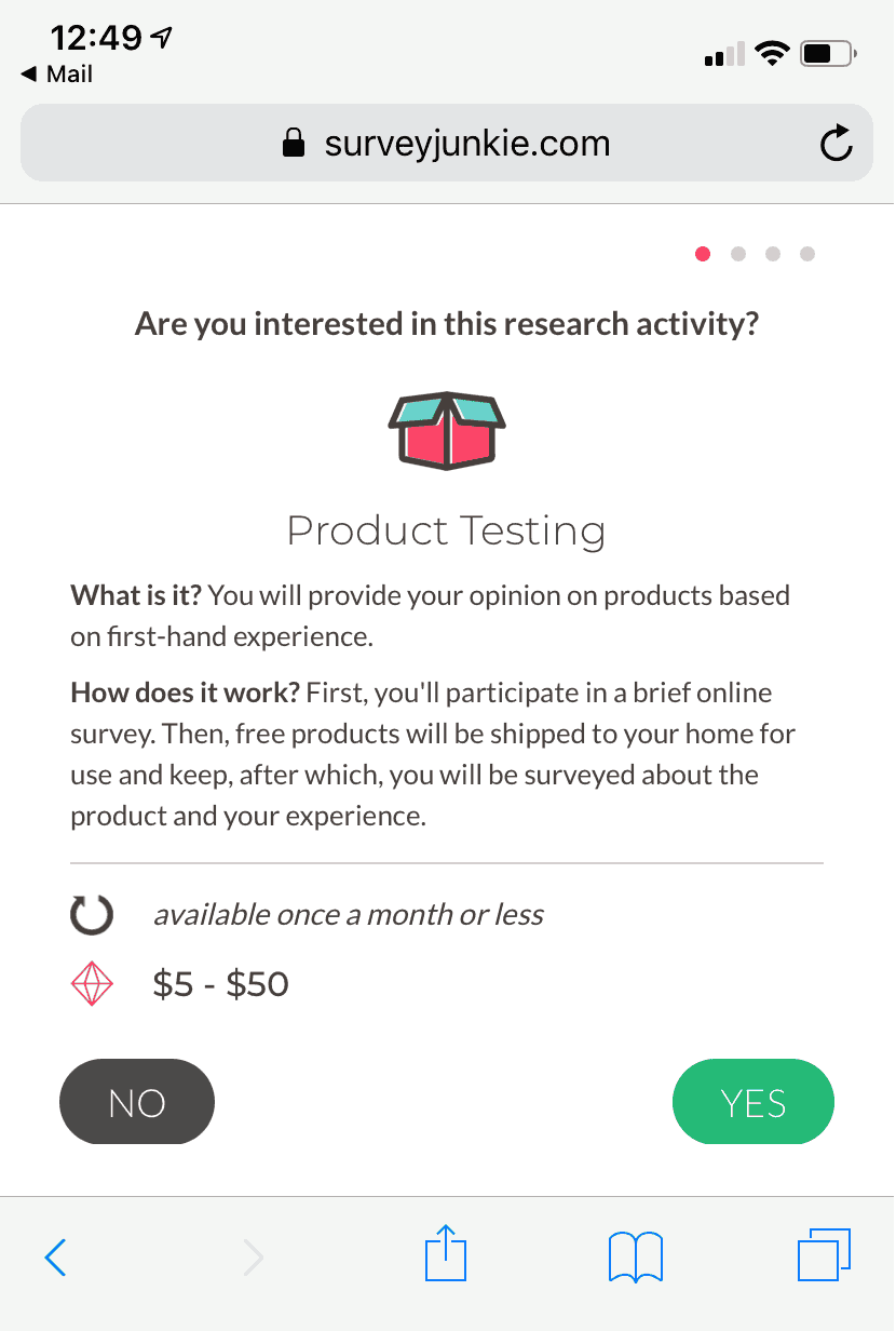 Survey Junkie product testing