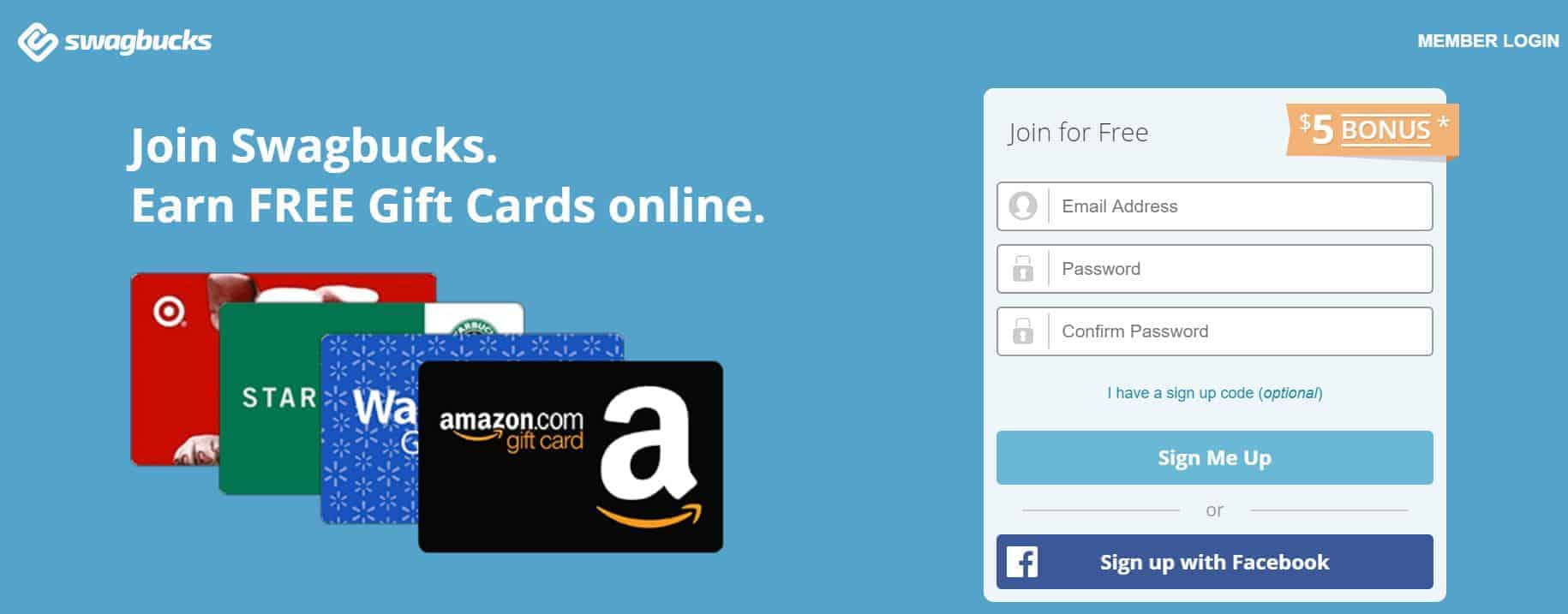 Swagbucks home page