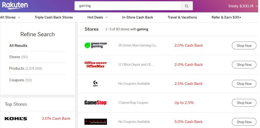 Rakuten gaming screenshot