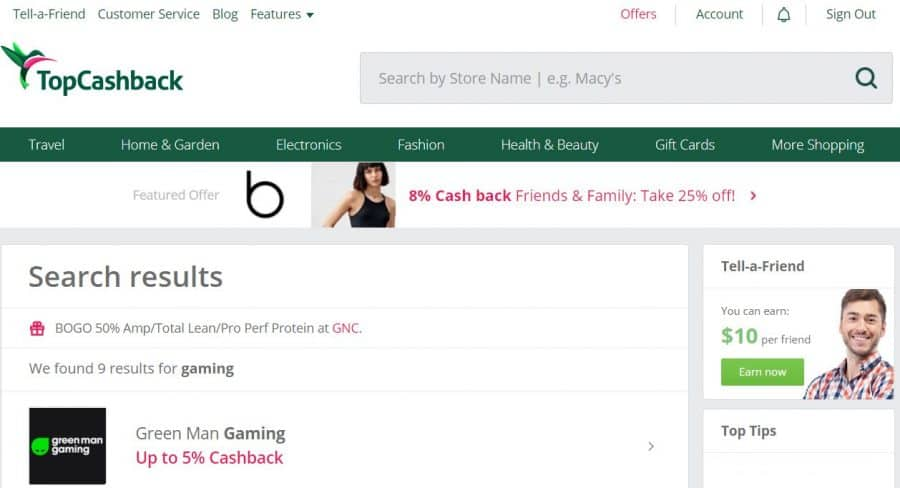 TopCashback gaming screenshot