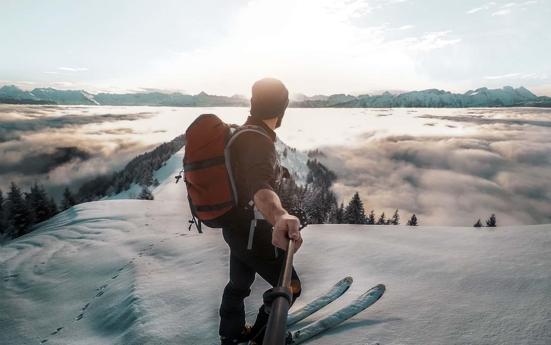 travel blogger selfie on mountain