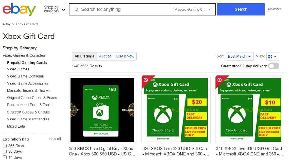 Xbox gift cards on Ebay